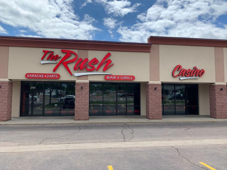 exterior shot of The Rush bar and grill